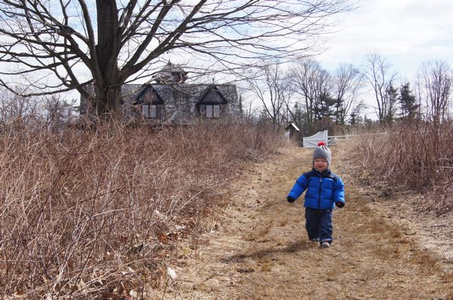 Wyatt, fifteen months old, exploring a preserve near our home in Connecticut