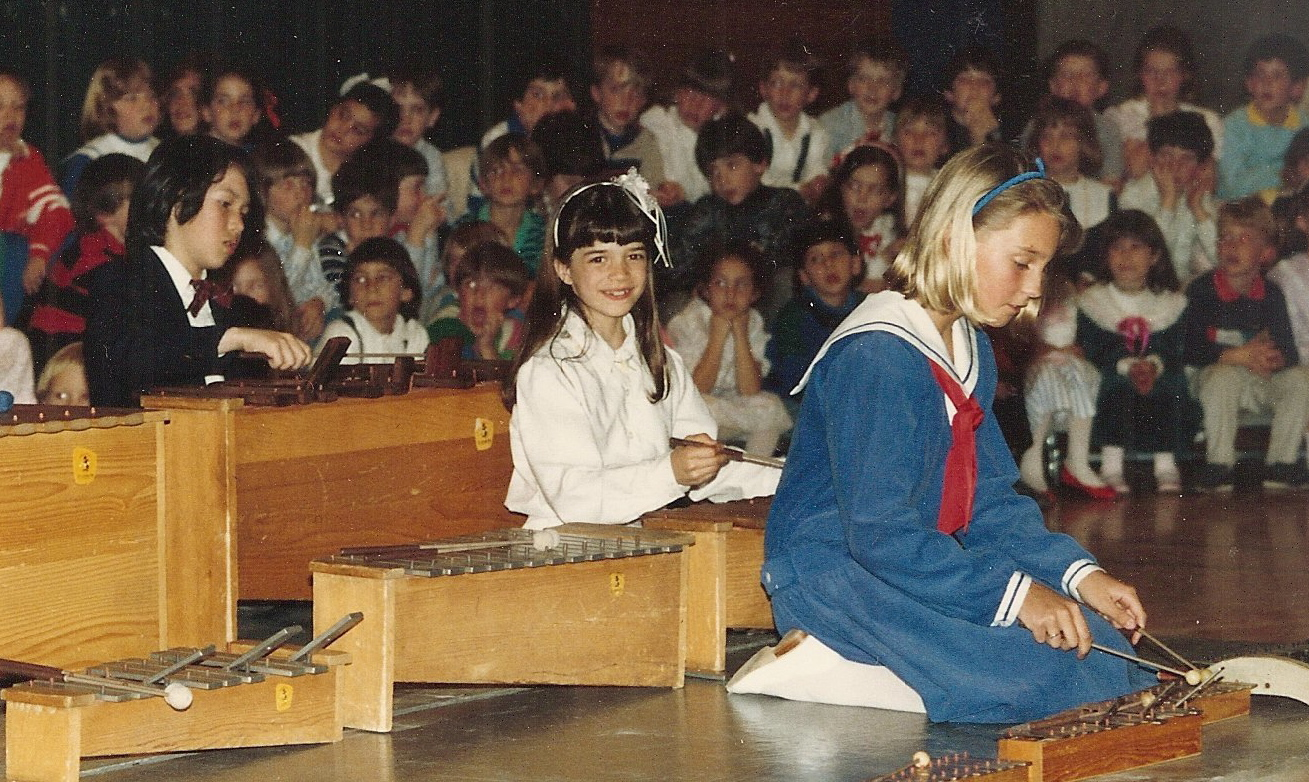 A concert at the Gordon School---that's me, center, on the xylophone, with the killer bangs