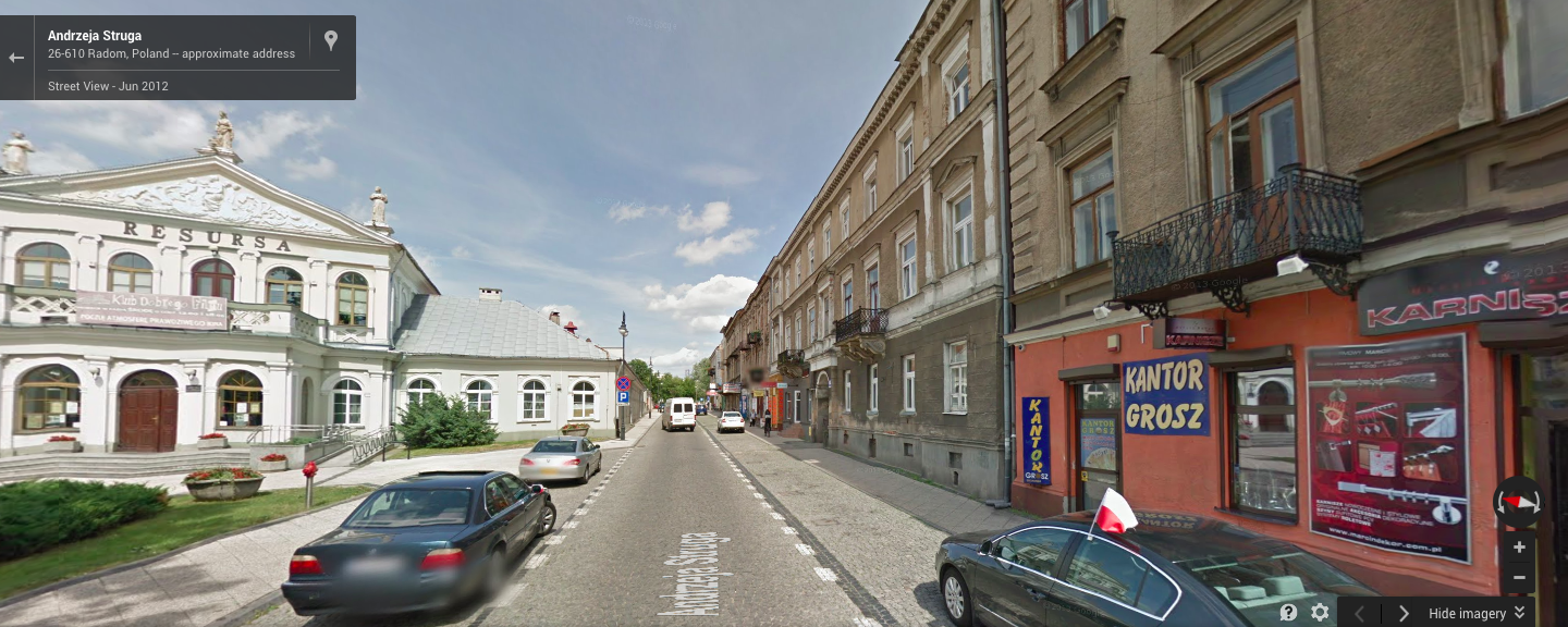 A GoogleEarth image of my family's old street address in Radom. Thanks to Jakub, I know now that before the war, the street was called Warszawska, not Malczewskiego, as it is now.