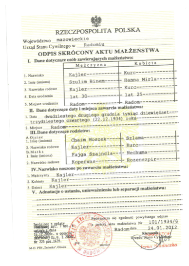 A marriage certificate for Mila and Selim, which the Red Cross found through the Registry Office in Radom