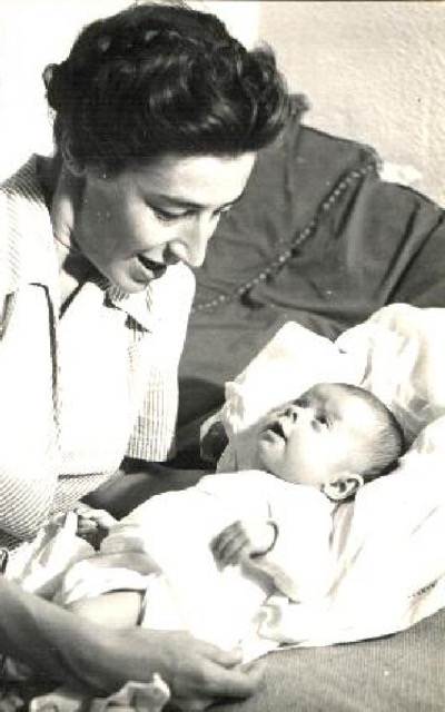 Caroline and my mother, seven months old (1949)