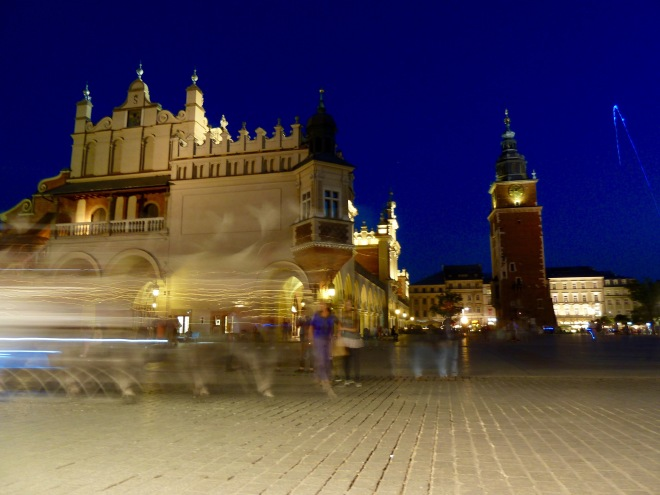 Krakow's Rynek Główny, or Main Square, by night