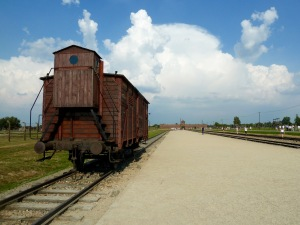 A train car that brought prisoners to Birkenau